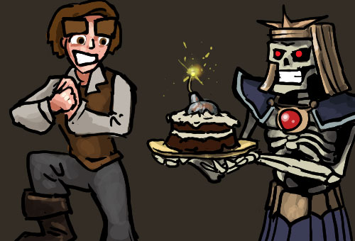 Dungeons of Dredmor happy birthday image feature the Dredmor hero and Lord Dredmor himself