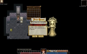 Dungeons of Dredmor beta screenshot receiving a quest from the goddess of pointless sidequests, Inconsequentia