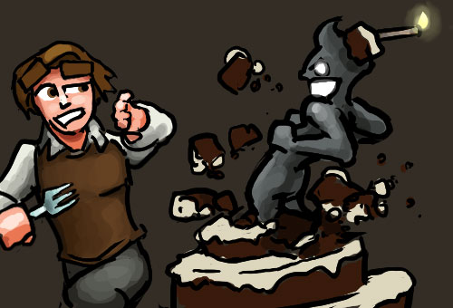Dungeons of Dredmor, a thrusty bursting from a cake at our shocked hero