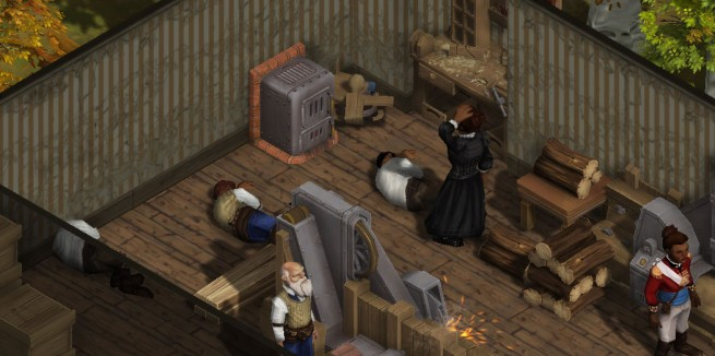 People are sleeping all over the floor of this carpentry shop because there aren't, in fact, any other houses in the settlement because this was set up for a screenshot. Thanks a lot, simulated people.