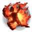 "The ""I am on fire"" icon."