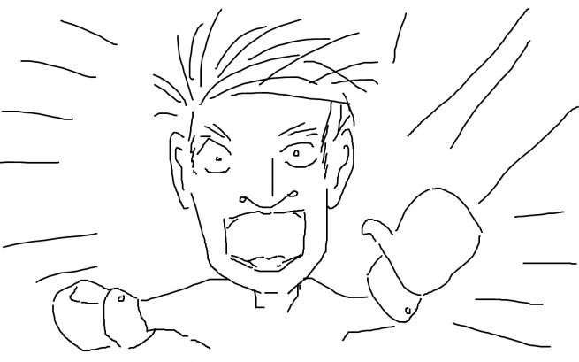 David Baumgart Awakes from a Horrible Dream. (Also, he is wearing Mittens for some reason.) Programmer Art Depiction.