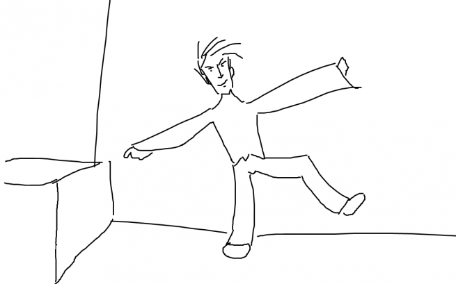 David Baumgart, Art Director, enters the break room. Programmer Art Depiction.