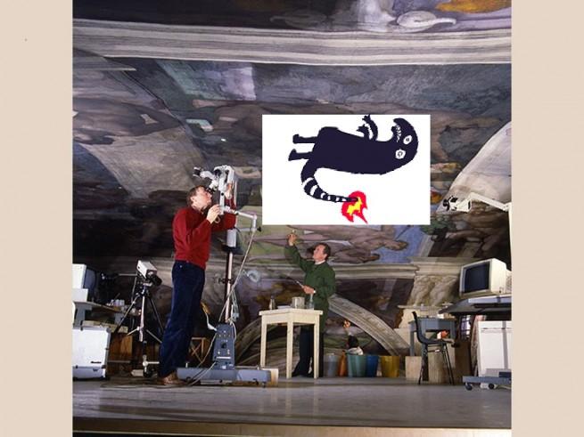 Veduta del ponteggio di restauro della volta della Cappella Sistina nel 1987 durante il restauro degli affreschi michelangioleschi. Si riconoscono i Maestri Restauratori Pier Giorgio Bonetti e Maurizio Rossi