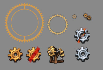 A series of cogs assembled from various UI assets to torment Daniel.